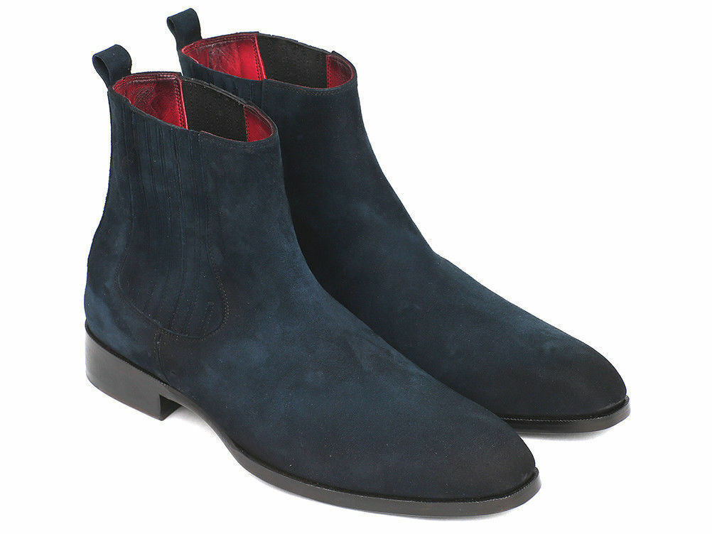 MEN HANDMADE HIGH CLASS LEATHER NAVY blueE SUEDE LEATHER HUNTER BOOTS FOR MENS
