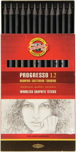 KOH-I-NOOR PROGRESSO WOODLESS GRAPHITE STICKS PENCILS 4B 6B 8B ARTISTS SKETCHING