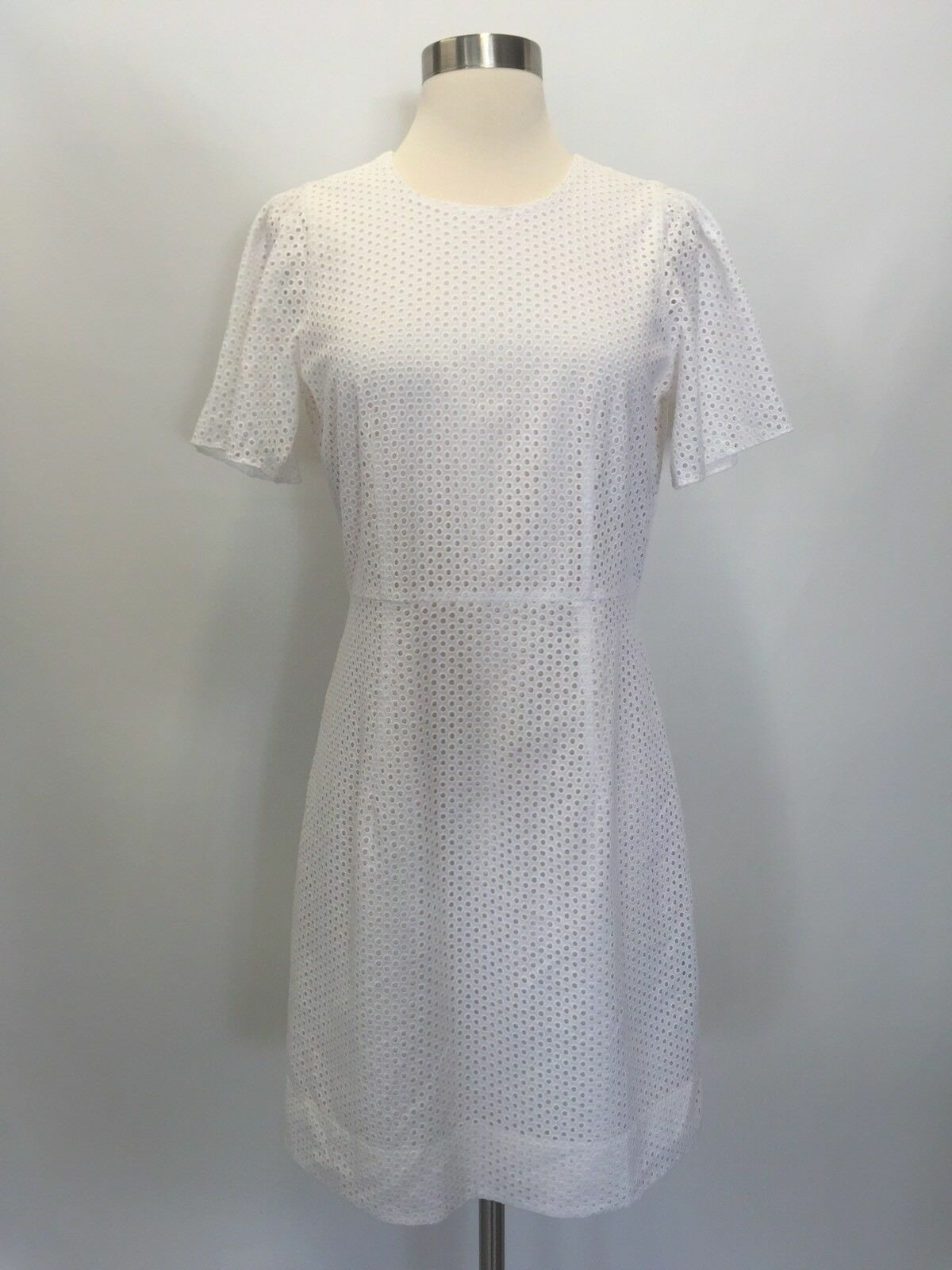 Jcrew  138 138 138 Flutter Sleeve Dress in Eyelet Sz 2 Ivory F1724 NEW 6ca04e