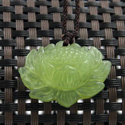 Green Jade Gem Tibet Buddhist Lotus Amulet Pendant Talisman--30mm*20mm