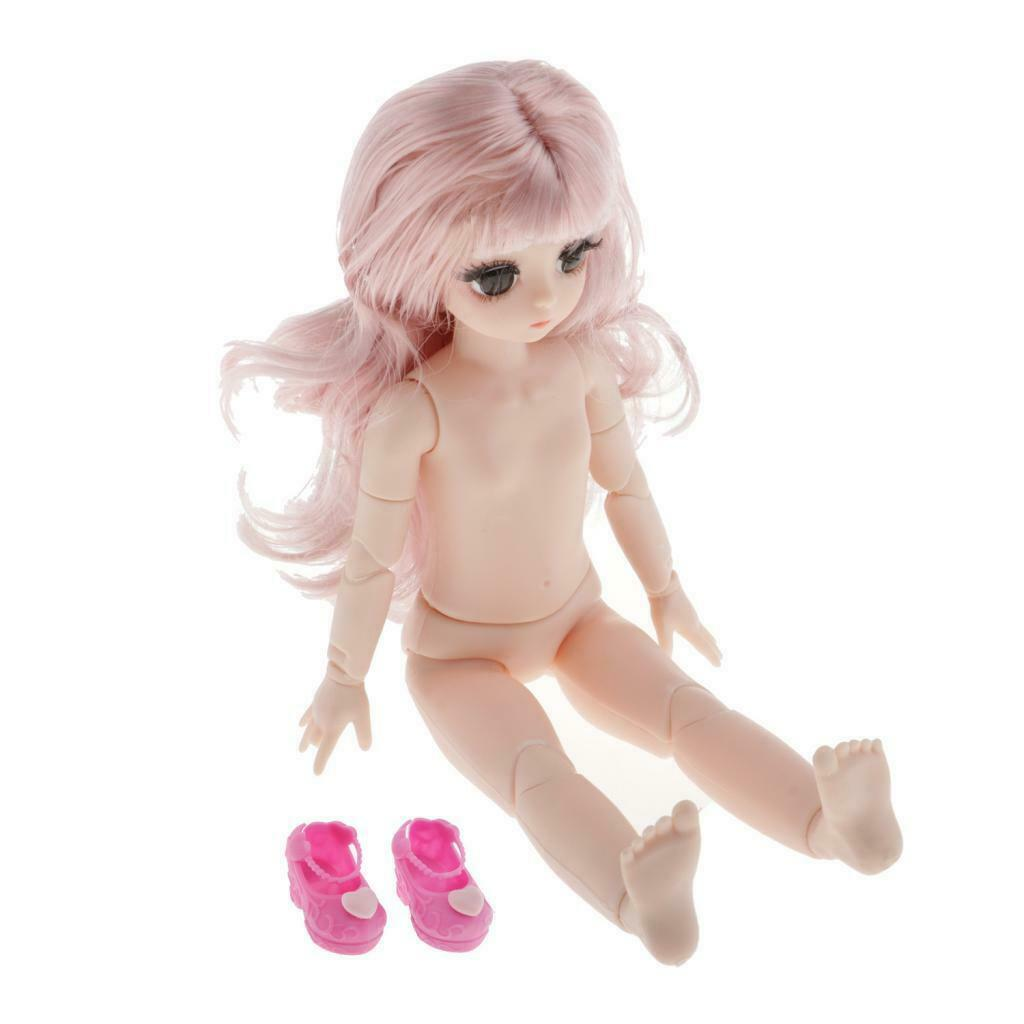 28cm Girl Ball Jointed Doll Nude Body with Shoes DIY Dress up Supplies Doll Accs