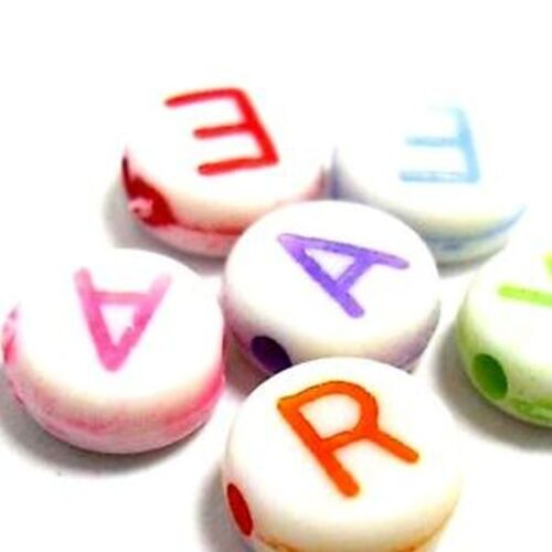 Random Mixed 100 Pcs Alphabet Letter Plastic Beads Various Style UK Seller