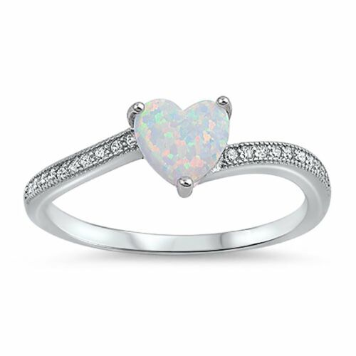Heart Promise Ring Created White Opal Round CZ 925 Sterling Silver Choose Color