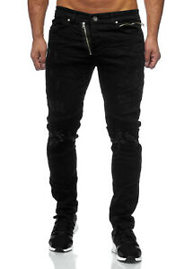 JEANS-Uomo-Biker-Jeans-Pantaloni-Nero-RIPPED-destroyed-Zipper-slim-fit-John-Kayna