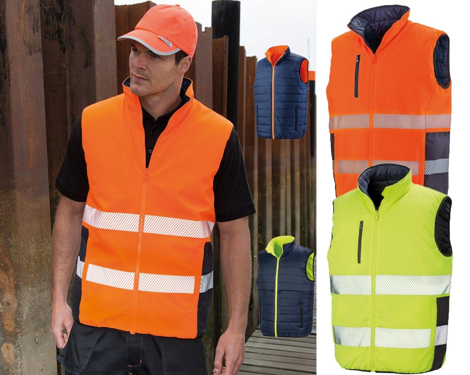Result Safe-Guard Reversible Soft Padded Safety Gilet Hi Vis Bodywarmer (R332X)