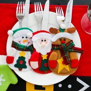Christmas-Xmas-Decor-Snowman-Kitchen-Tableware-Holder-Pocket-Dinner-Cutlery-Bags