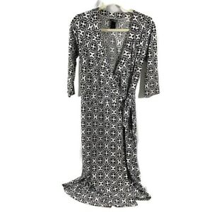 Bisou-Bisou-Size-4-Wrap-dress-multicolor-abstract-art-black-white-Casual-Chic
