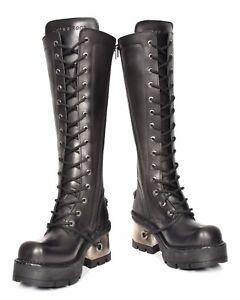 resistentes New retro Plataformas negras Hasta de la Womens rodilla Rock Tacones Zapato Botas cuero 7zwdccqBv