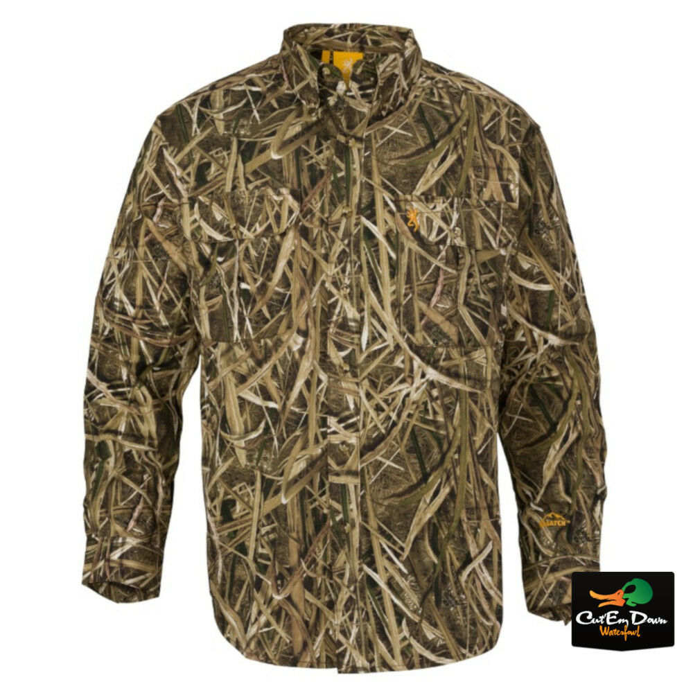 NEW BROWNING WASATCH CB SHIRT LONG SLEEVE BUTTON UP SHADOW GRASS BLADES CAMO