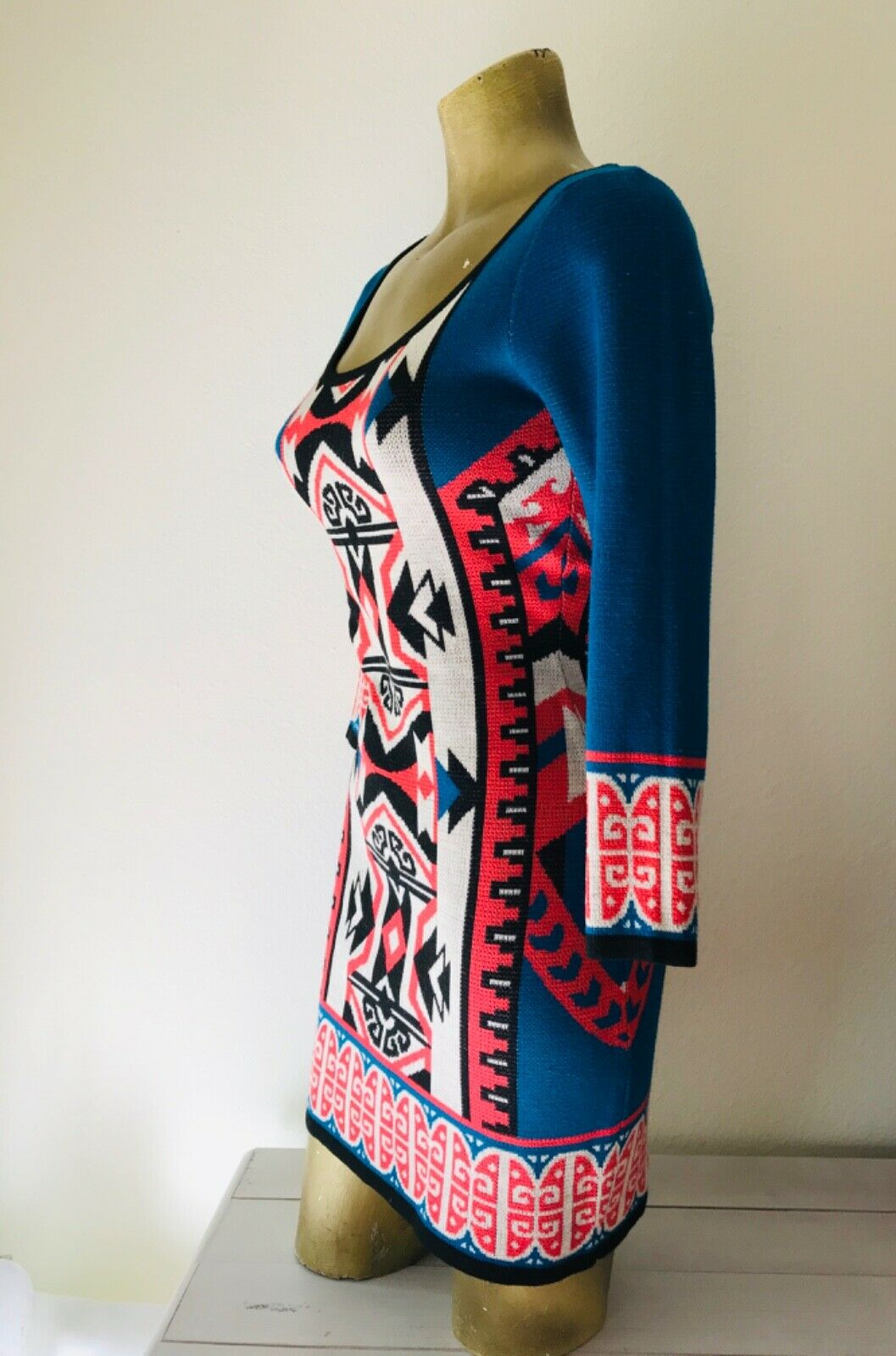 FLYING TOMATO Tribal Print Knit DRESS XS - image 5