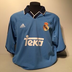 new products ff3e3 d272e Details about 1999 2000 Real Madrid Teka Soccer Football Club Mens Away  Jersey FC Adidas XL