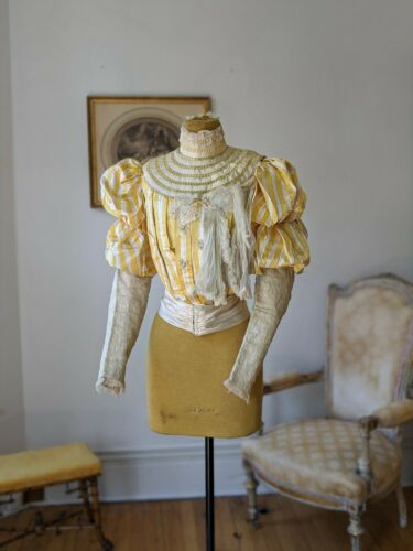 Fine Antique Victorian Bodice Yellow Striped Silk