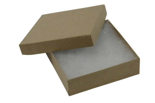 KRAFT COTTON FILLED JEWELLERY GIFT PRESENTATION STORAGE BOXES - ALL SIZES