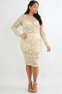 Details about Plus Size Bordre Pleat Gold Feather Sheer Long Sleeve Midi  Tan Dress 1X 2X 3X