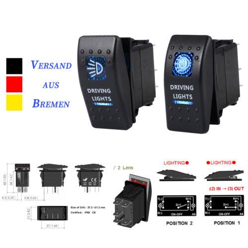 12V//24V LED Wippschalter mit Beleuchtung Einbauschalter Wasserdicht für KFZ Boot