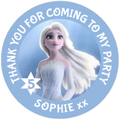Frozen Personalised Thank You Birthday Stickers Labels Party Bag Seals