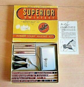 Vintage-Rubber-Stamp-Making-Kit-Superior-Swift-Set-1960s