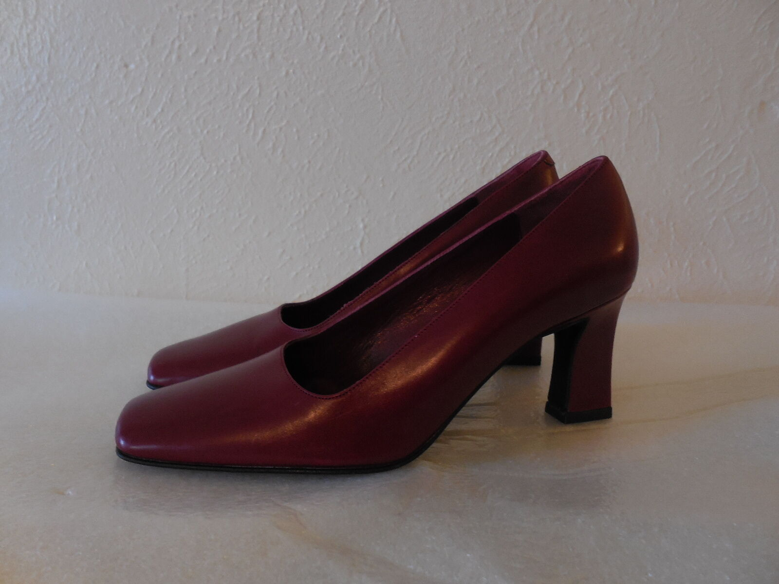 NEW Sz.5 NORDSTROM Leather Heel Burgundy Shoes - ITALY