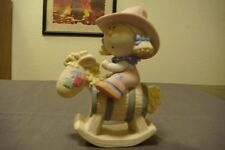 """NEW Bumpkins CollectIble Ceramic Figurines """" COW GIRL RIDING ROCKING HORSE"""""""