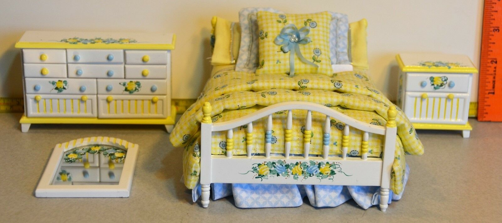 Bedroom Set Hand Painted Dollhouse 1:12 Signed DRB Roombox