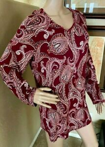 Chicos-Zenergy-Womens-Red-Paisley-Stretch-Tunic-Top-sz-2-or-L