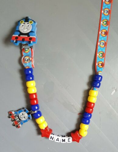 **THOMAS THE  TANK** PERSONALISED DUMMY CLIP *FREE MAM RING* READ DESCRIPTION!
