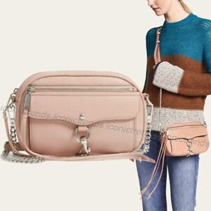 NWT-Rebecca-Minkoff-Blythe-Soft-Leather-Crossbody-Bag-Doe-Pink-Beige