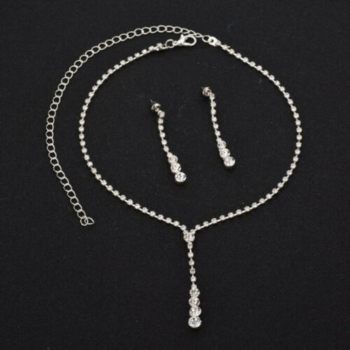 Fashion Bridesmaid Bridal Crystal Choker Necklace Earrings Jewelry Set Wedding