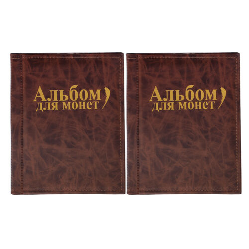 2pcs 250 Coins Holders Album Book Money Penny Pocket Coins Organizer Brown