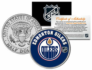 EDMONTON-OILERS-NHL-Hockey-JFK-Kennedy-Half-Dollar-U-S-Coin-LICENSED