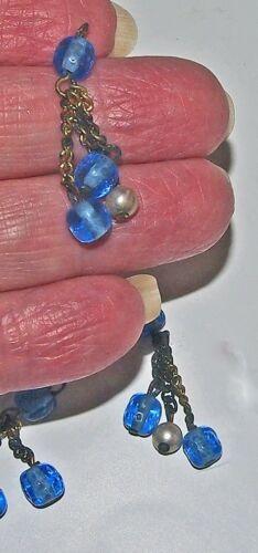 Blue Glass /& Pearls Tassels on chains Czech Gablonz 25mm 25 pcs