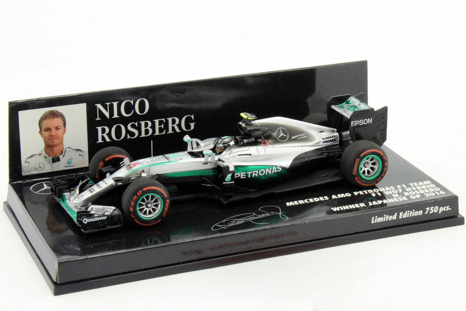 F1 1 43 MERCEDES GP W07 ROSBERG WINNER JAPANESE GP CHAMPION 2016 MINICHAMPS