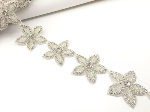 1 Yard Wedding Stars Motif Crystal Rhinestone Applique Sewing Iron on Star Trim
