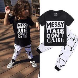 US Toddler Kids Baby Girls Outfit Clothes T-shirt Tops+Long Pants 2PCS Set