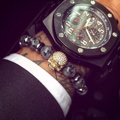 Charme Hommes CZ Crâne Couronne INDE LABRADORITE pierre perles bracelet handmade Bijoux