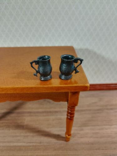 Dollhouse Miniature Fancy Metal Tankard Mugs 1:12 Scale Set of 2 Vintage Style