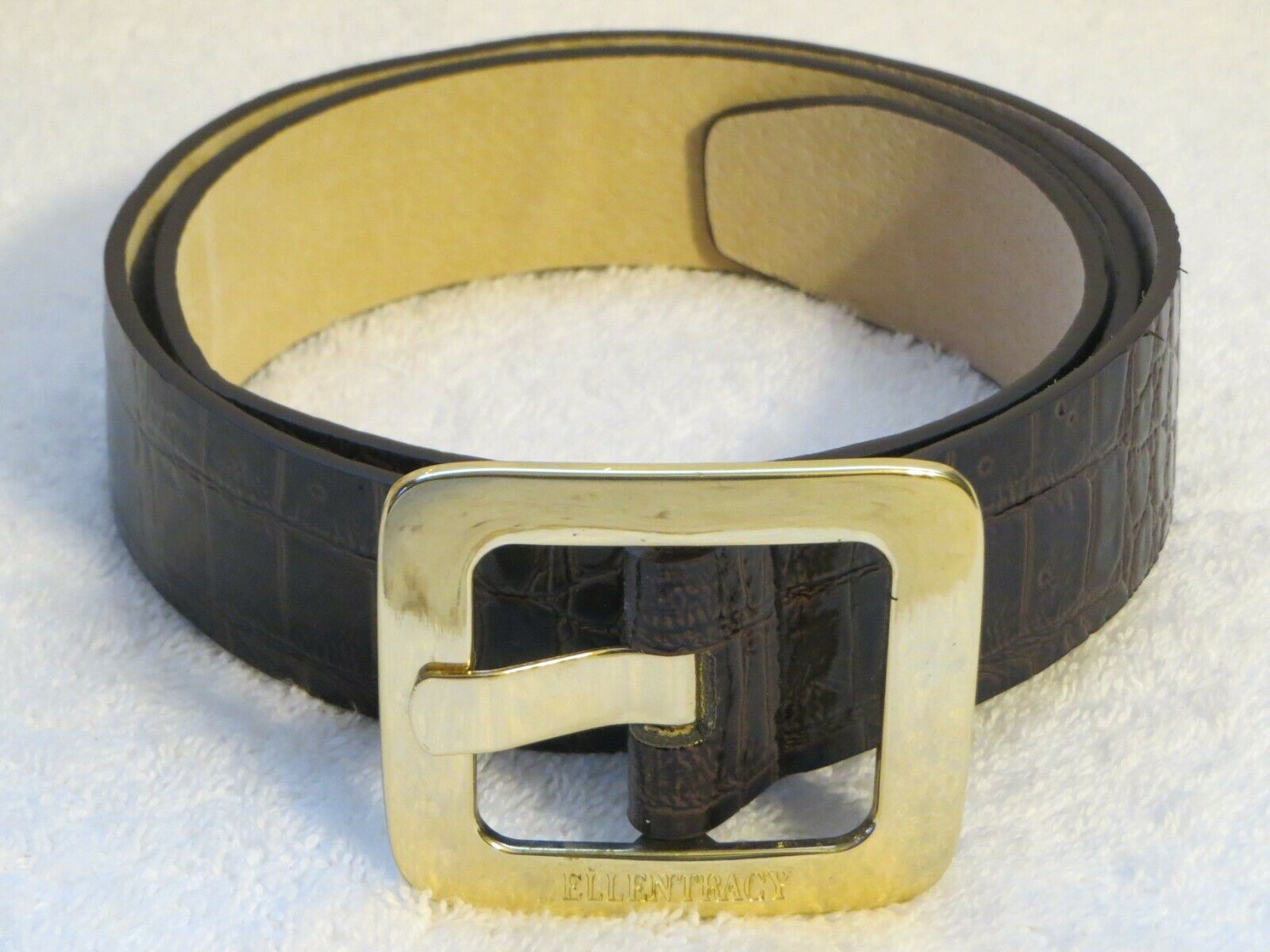 Ellen Tracy Faux Alligator Belt with Big Gold Buckle & Leather Fits 32.5-36.5