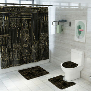 Egyptian Mural Bathroom Rug Shower Curtain Bath Mat Non-Slip Toilet Lid Cover