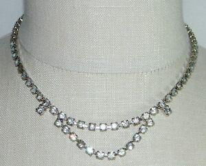 VTG-Silver-Tone-Clear-White-Rhinestone-Art-Deco-Bib-Design-Necklace-Choker-B