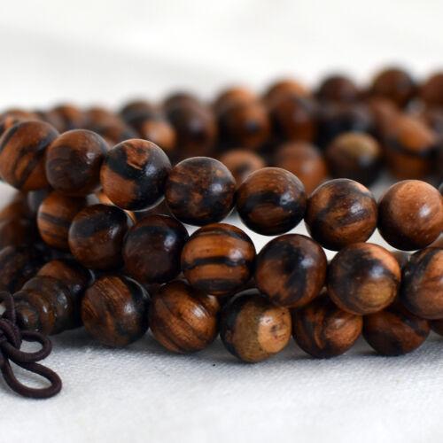 Tiger Skin Sandalwood Wood Round Beads 8mm 6mm 10mm 108 Mala Prayer Beads