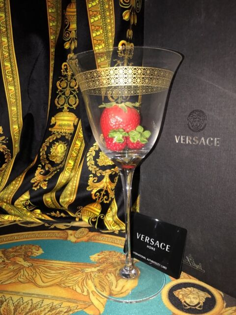 Versace Gold Wine Glass Marco Polo Rosenthal New In Box Wedding Gift