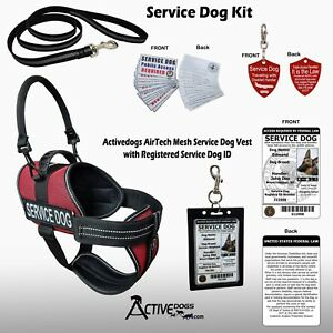 ActiveDogs Service Dog Kit - Mesh Service Dog Vest Harness + ID Card & Much More