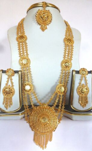 Indian 22K Gold Plated Wedding Necklace Earrings tikka Different Variations set,