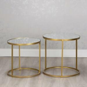 9286265a5d9b65 GOLD GLASS & METAL SET OF 2 ROUND NEST OF SIDE END LAMP COFFEE ...