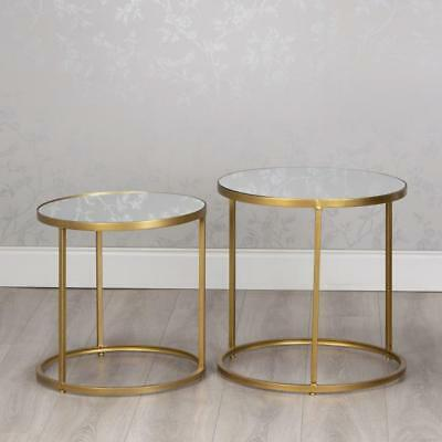 Gold Gl Metal Set Of 2 Round Nest
