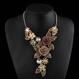 Luxury-Flower-Crystal-Party-Statement-Bib-Chain-Pendant-Necklace-Collar-Jewelry