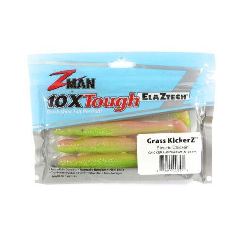 8538 Zman Soft Lure Grass KickerZ 5 Inch 4 per pack Electric Chicken