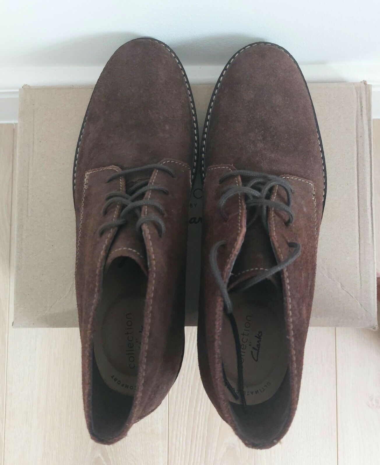 Clarks Mens Suede Chukka Boots PAULSON MID Dark Brown Size 8 UK US 9 EUR 42