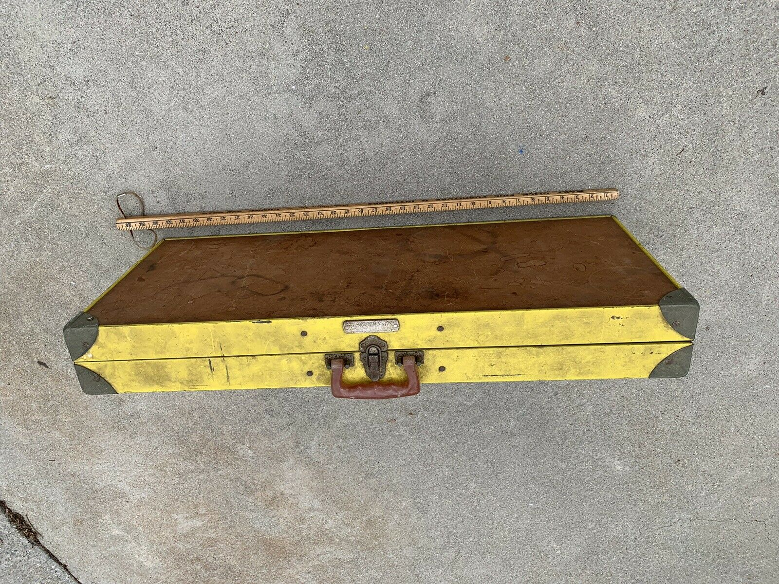 Vintage Yellow Handy Folding Picnic Table and Chair Set Milwaukee Stamping Co