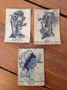 Vintage-Antique-WWII-1940s-Lot-3-Newspaper-Caricatures-Cartoons-Wacky-Drawings